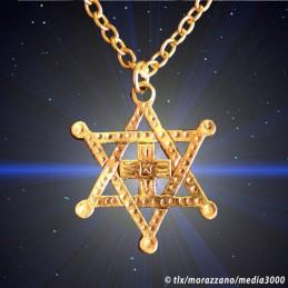LE BOUCLIER DE DAVID ETHIOPIEN  façon plaqué Or