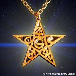 L'ETOILE FLAMBOYANTE  pendentif doré Or fin