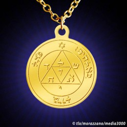 MEDAILLE DE SALOMON. Pentacle Mars 3. Or Massif 18 Carats.
