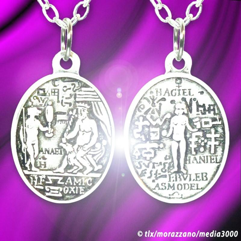 Amour et Pouvoir, médaille Magique de Catherine de Médicis, Or Blanc  Massif 18 Carats